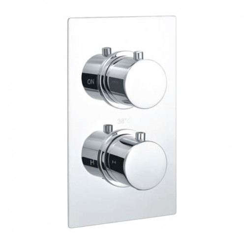Echo Round Chrome Twin Thermostatic Concealed Shower Valve (TMV2)