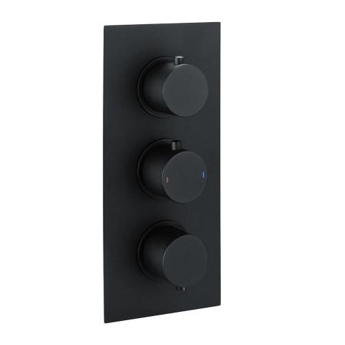 Echo Round Matt Black Triple Thermostatic Concealed Shower Valve (TMV2)