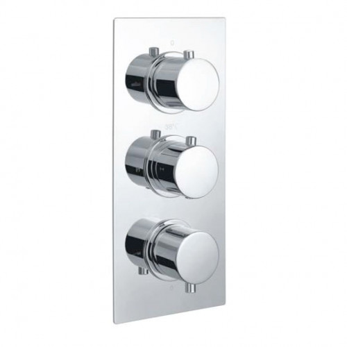 Echo Round Chrome Triple Thermostatic Concealed Shower Valve with Diverter (TMV2)