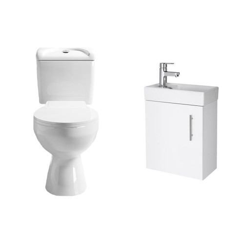 Essentials Cloakroom Toilet & Wall Hung Vanity Unit Package 1