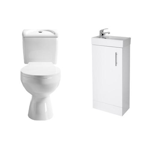 Essentials Cloakroom Toilet & Floor Standing Vanity Unit Package 1