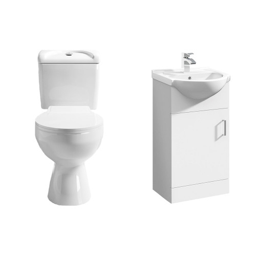 Essentials Cloakroom Toilet & Floor Standing Vanity Unit Package 2