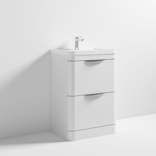 Parade 600mm White Gloss Floor Standing Cabinet & Ceramic Basin