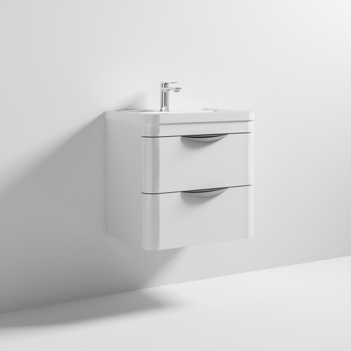 Parade 600mm White Gloss Wall Mounted Cabinet & Polymarble Basin