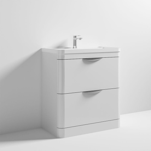 Parade 800mm White Gloss Floor Standing Cabinet & Polymarble Basin