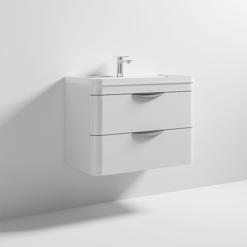 Parade 800mm White Gloss Wall Mounted Cabinet & Polymarble Basin