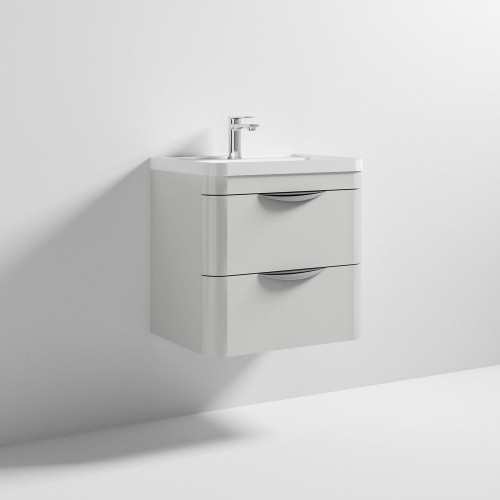Parade 600mm Grey Mist Gloss Wall Mounted Cabinet & Polymarble Basin