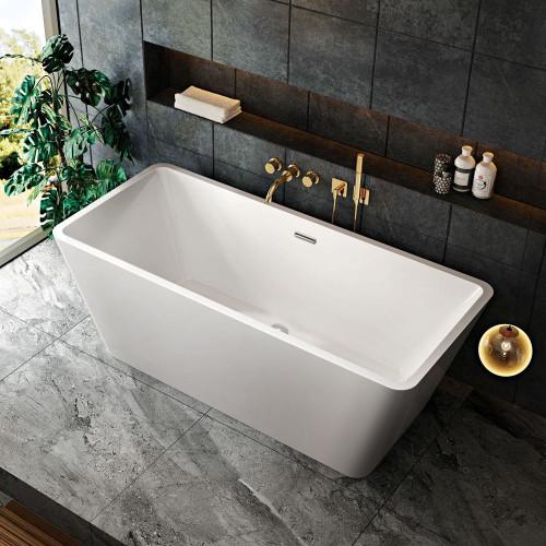 Geneva 1700mm x 720mm Double Ended Freestanding Bath & Waste