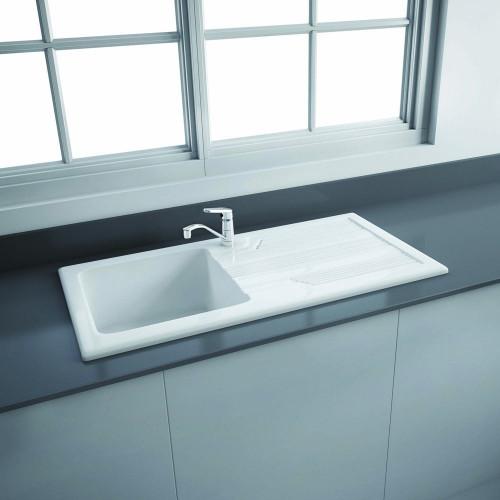 RAK Gourmet Kitchen Sink 4 Single Bowl, Single Reversible Drainer