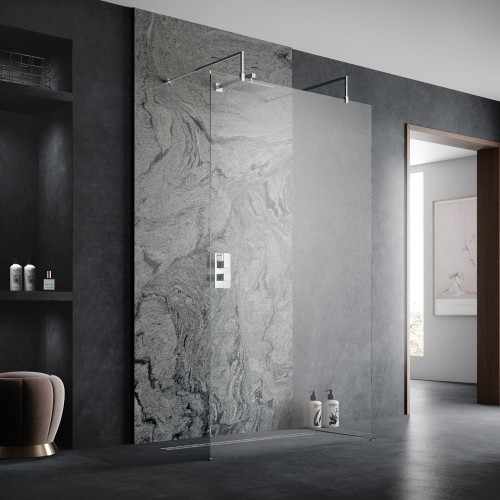 Hudson Reed Apex Chrome 800mm x 1950mm Wetroom Screen with Arms & Feet