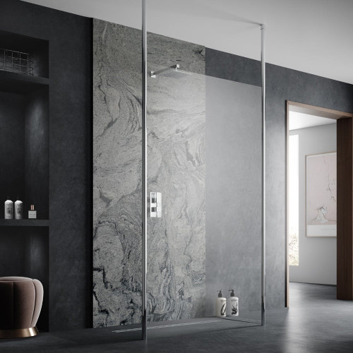 Hudson Reed Apex Chrome 700mm x 1950mm Wetroom Screen with Ceiling Posts
