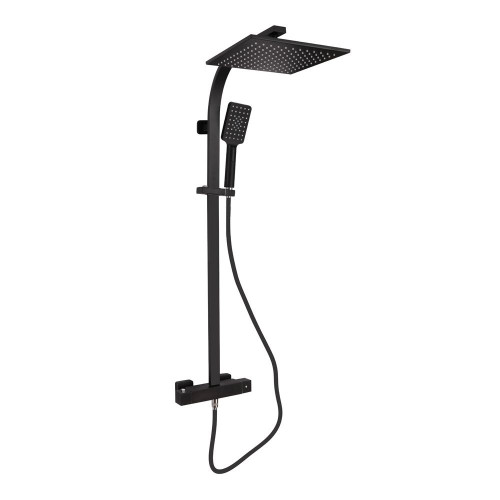 Hydro Matt Black Cool Touch Thermostatic Mixer Shower & Rigid Riser Rail Kit