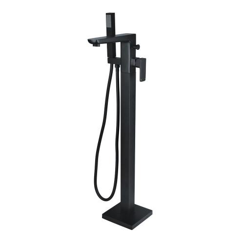 Hydro Matt Black Floor Mounted Bath Shower Mixer & Shower Kit