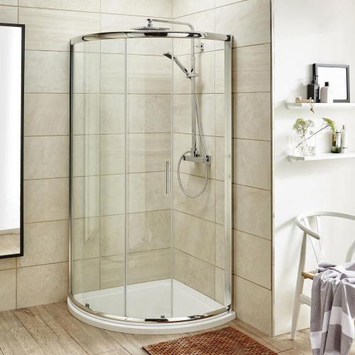 Pacific 860mm Single Door Quadrant Shower Enclosure, Tray & Waste
