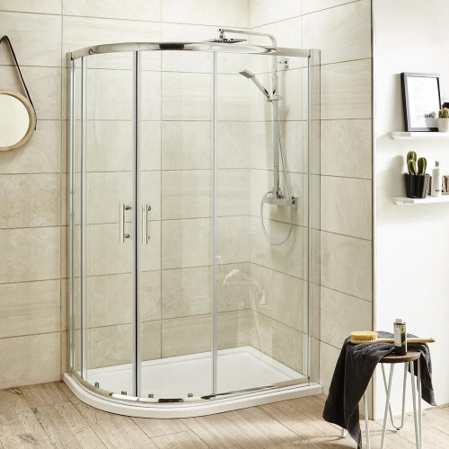 Pacific 900mm x 760mm Offset Quadrant Shower Enclosure, Tray & Waste - Left Hand