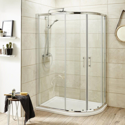Pacific 900mm x 760mm Offset Quadrant Shower Enclosure, Tray & Waste - Right Hand