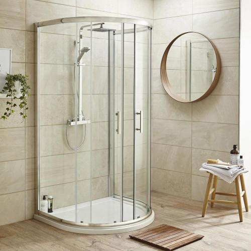 Pacific 1050mm x 925mm D-Shape Quadrant Shower Enclosure, Tray & Waste