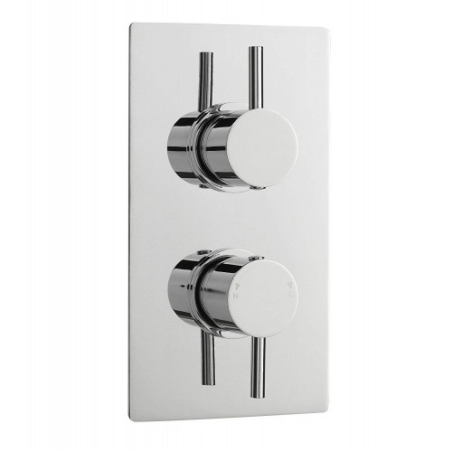 Pioneer Round Twin Themostatic Shower Valve With Chrome Plated ABS Trimset