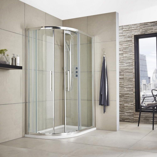 Hudson Reed Apex Chrome 1200mm x 800mm Offset Quadrant Shower Enclosure - Enclosure Only