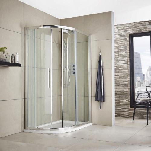 Hudson Reed Apex Chrome 1200mm x 900mm Offset Quadrant Shower Enclosure - Enclosure Only
