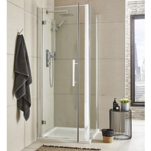 Apex 800mm Hinged Door Square Enclosure Package with Tray & Waste