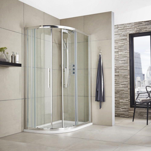 Apex 1000mm x 800mm Offset Quadrant Shower Enclosure, Tray & Waste - Left Hand