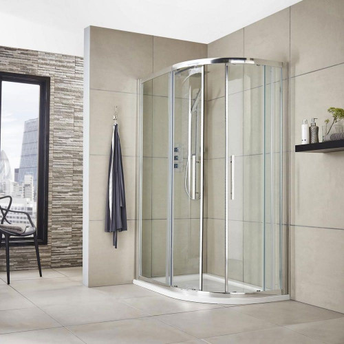 Apex 1000mm x 800mm Offset Quadrant Shower Enclosure, Tray & Waste - Right Hand