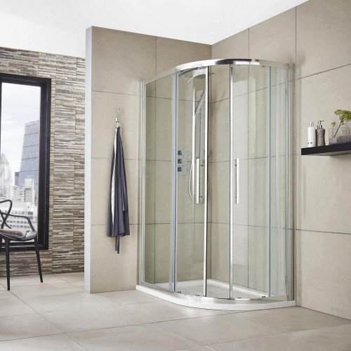 Apex 1200mm x 800mm Offset Quadrant Shower Enclosure, Tray & Waste - Right Hand