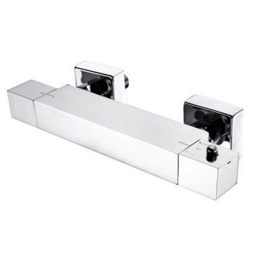 Minimalist Square Chrome Thermostatic Bar Shower Valve - Bottom Outlet
