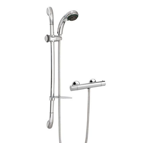 Minimalist Chrome Thermostatic Mixer Shower & Slider Rail Kit