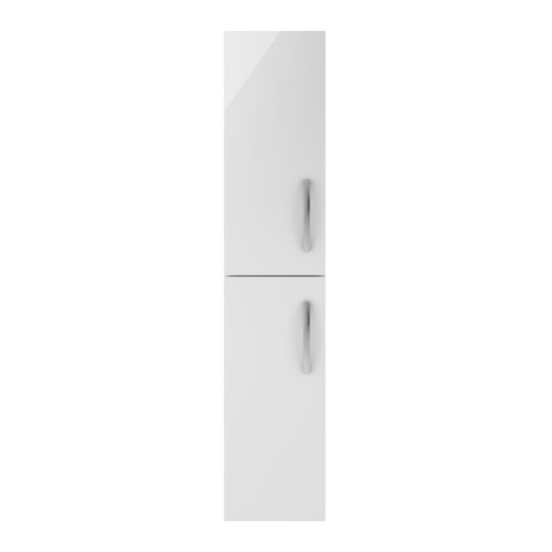 Athena White Gloss 300mm Wall Hung 2 Door Tall Unit