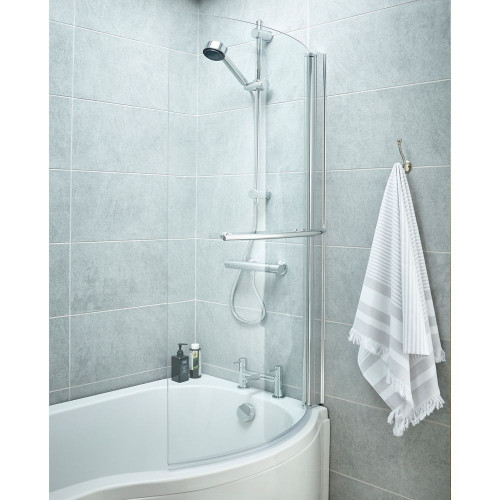 Curved Hinged Shower Bath Screen with Towel Rail