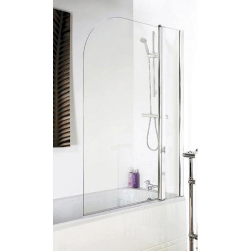 Arched Hinged Plain Bath Screen & Fixed Panel 6mm