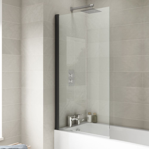 Square Black Hinged Glass Bath Screen 790mm x 1400mm x 6mm