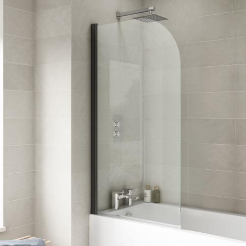 Arched Black Hinged Glass Bath Screen 790mm x 1400mm x 6mm
