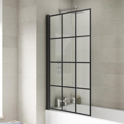Square Black Hinged Glass Bath Screen 790mm x 1435mm x 6mm