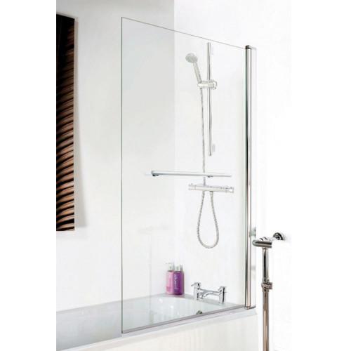 Square Hinged Plain Bath Screen & Towel Rail 6mm