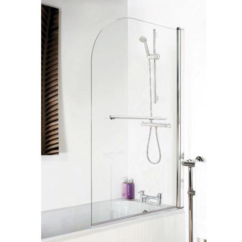 Arched Hinged Plain Bath Screen & Towel Rail 6mm