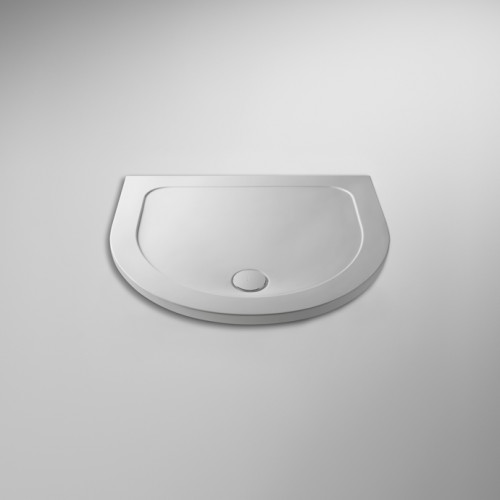 Pearlstone White D Shape Shower Tray 1050mm x 950mm x 40mm