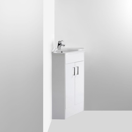 Compact 550mm Corner Cabinet & Basin - 1 Tap Hole