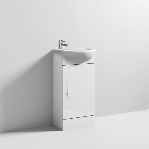 Sienna 420mm White Gloss Cabinet & Basin - 1 Tap Hole