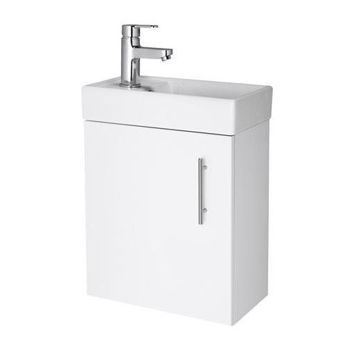 Vault 400mm White Gloss Wall Hung Cabinet & Basin - 1 Tap Hole