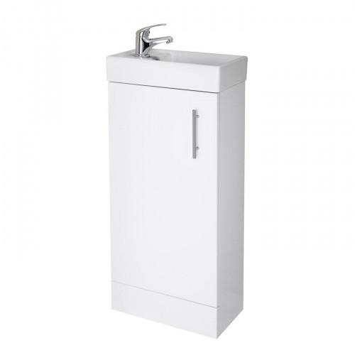Vault 400mm White Gloss Floor Standing Cabinet & Basin - 1 Tap Hole