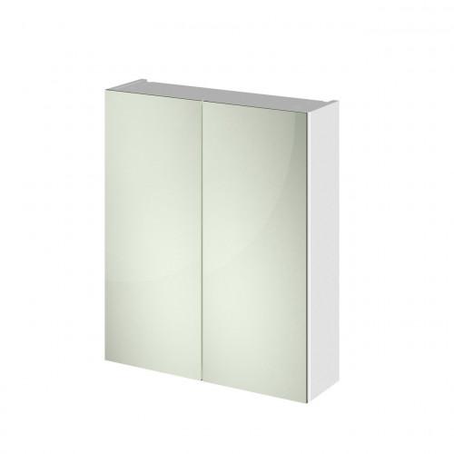White Gloss 600mm Mirror Cabinet 50/50 Split (180mm Deep)
