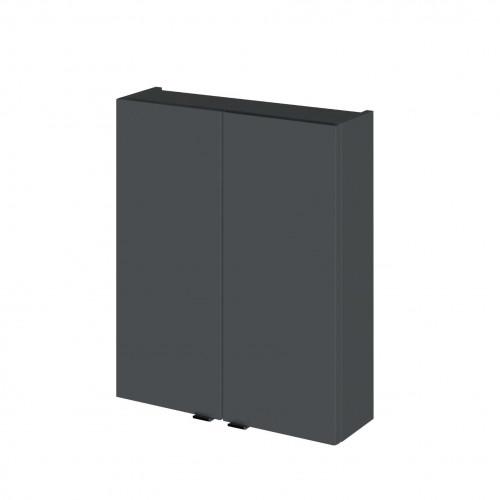 Hudson Reed Fusion Grey Gloss 500mm 2 Door Wall Unit (180mm Deep)