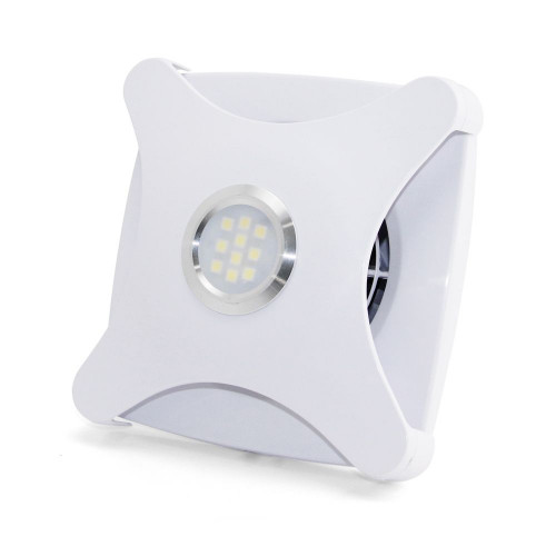 """Essentials Slim 4"""" White Concealed Axial Extractor Fan with Built-in LED Illumination"""