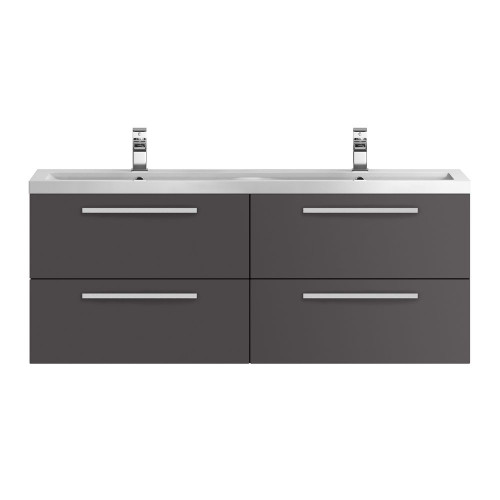 Hudson Reed Quartet Grey Gloss 1440mm Wall Hung Double Cabinet & Basin