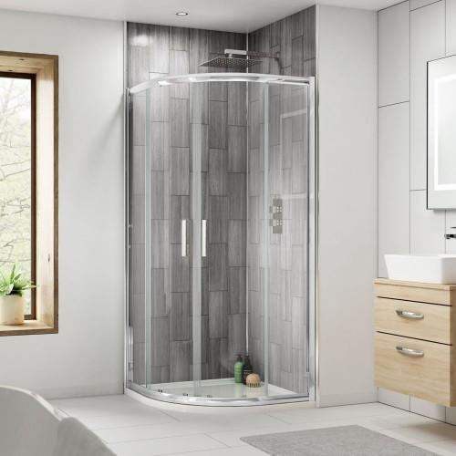 Rene Satin Chrome 800mm Quadrant Shower Enclosure Package