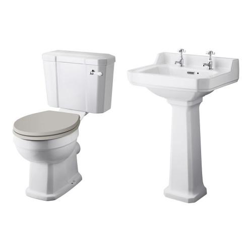 Old London Richmond Close Coupled Toilet & Basin Suite - 2 Tap Hole