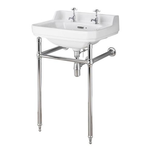 Old London Richmond 560mm Basin & Luxury Chrome Washstand - 2 Tap Hole